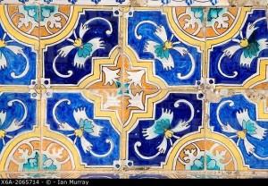 Moorish patterns ceramic decorated tiles, Ronda, Spain