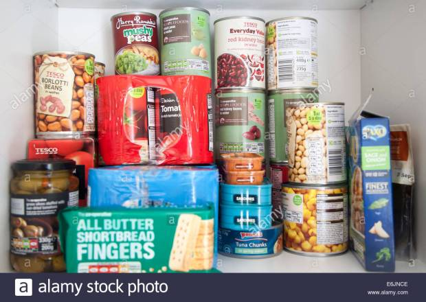 Tinned food produce in a kitchen cupboard UK
