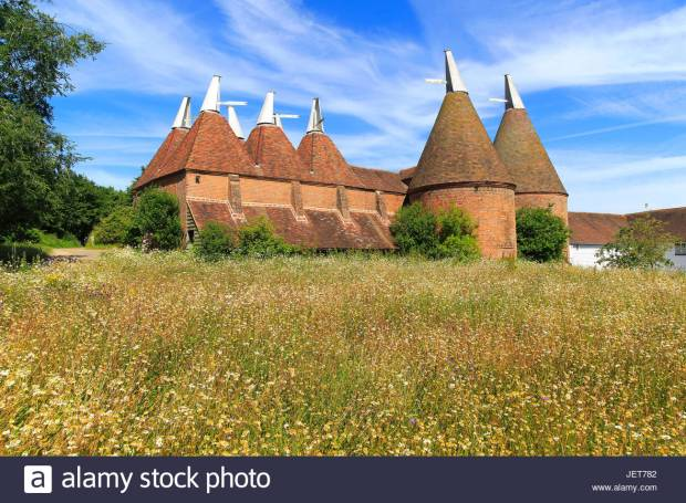 Historic oast house buildings at Sissinghurst castle gardens, Kent, England, UK