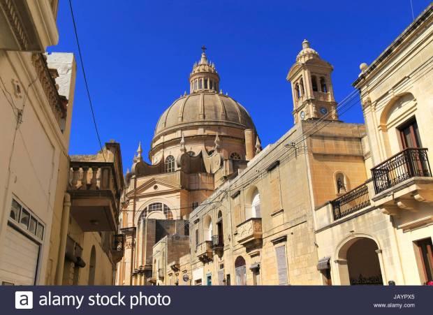 Rotunda domed roof of church of St John the Baptist, Xewkija, island of Gozo, Malta