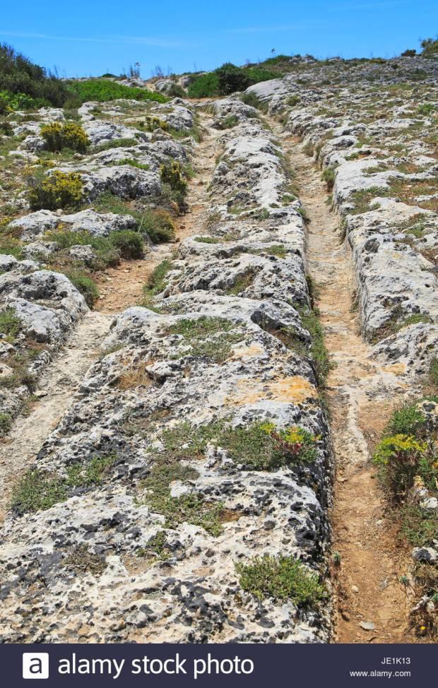 Misrah Ghar il-Kbir, Clapham Junction, prehistoric cart ruts tracks over rocky limestone surface, Siggiewi, Malta