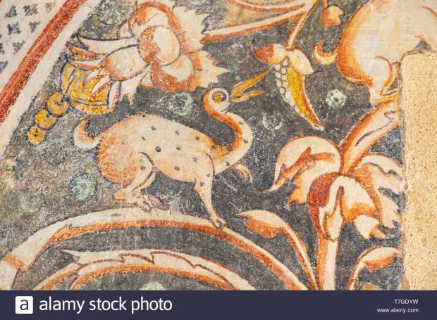 Image set of Casas Pintadas, Evora, Portugal unusual 16th-century murals paintings of creatures real and imagined, birds, hares, foxes, a basilisk, a